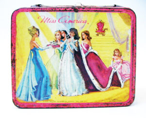 Rare Vintage 1972 Miss America Pageant Metal Lunchbox by Aladdin Industries featuring the bathing suit competition, ball gown competition, the crowning of the new Miss America and the talent competition. Copyright 1972 Miss America Pageant. Selling for $208 at Etsy.