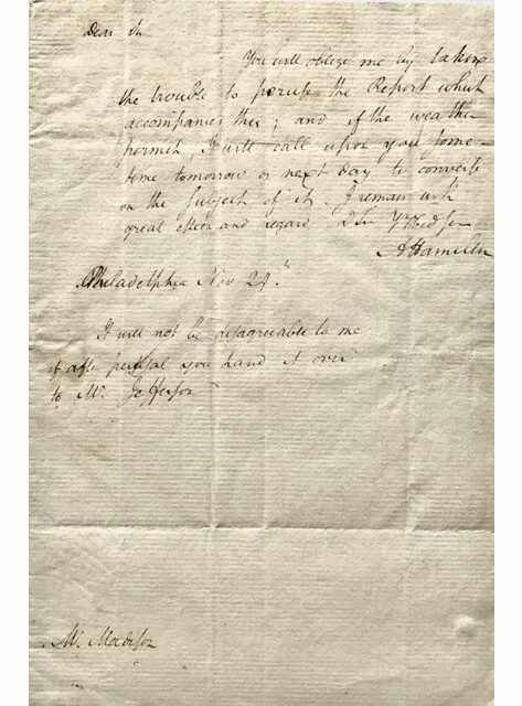 Letter from Hamilton to Madison, $113,850, Lion Heart Autographs