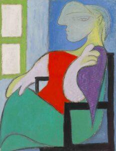 Pablo Picasso' portrait painting of his muse (Marie-Thérèse), titled Femme assiste pres d'une fenetre (1932)