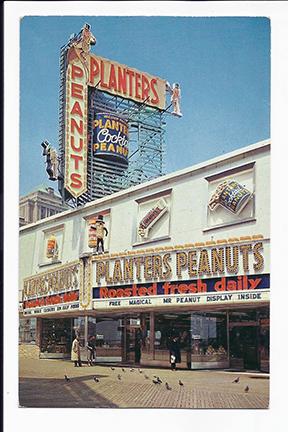Vintage 1970s boardwalk photo of Mr. Peanut store on the boardwalk
