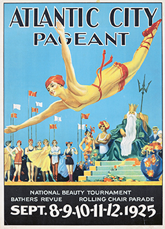 Pageant Poster from 1925 with the accompanying trophy and a photograph of Miss America 1925, Fay Lanphier, who came to the title by way of being Miss Santa Cruz 1924, the 1925 Rose Queen, and then Miss California 1925.