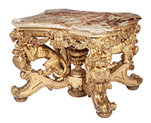 A circa 1830 Continental center table, probably German, having a giltwood base lavishly carved with lions, Bacchic masks and floral swags supporting an alabaster top sold for $46,875 at an English & Continental Furniture & Decorative Arts auction held May 26th by Doyle in New York City.