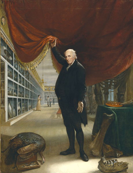 The Artist in His Museum (Peale's self-portrait, 1822) is displayed at the Pennsylvania Academy of the Fine Arts in Philadelphia