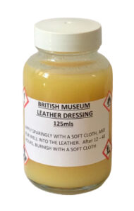 British Museum Leather Dressing, a reasonably priced and highly recommended leather conditioner