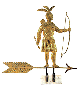 A late 19th century molded and gilded-copper weathervane depicting a full-bodied standing Massasoit Indian with bow and arrow atop directional arrow, made by Harris & Co. (Boston) sold for $258,300 at a Fine & Decorative Arts auction held June 8-9 by Morphy's in Denver, PA
