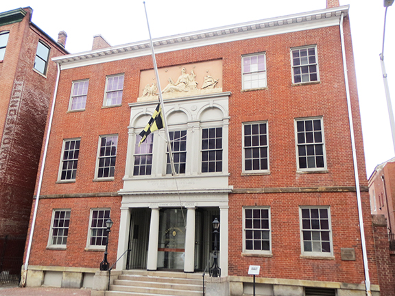 The Peale Museum. It was created in 1814 by Charles Wilson Peale and Rembrandt Peale. It was the first building designed as a museum in the United States. This site was selected for Endangered Maryland in 2011.