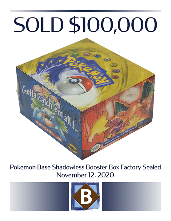 Factory-sealed Pokémon Base Shadowless Booster Box sold on December 12, 2020, for $100,000 photo: Bruneau & Co.