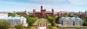"""The original Smithsonian Institution Building, commonly known as the """"Castle,"""" was designed by architect James Renwick and constructed between 1847 and 1855. The Castle houses the Smithsonian Visitor Center and administrative offices, as well as the James Smithson crypt."""