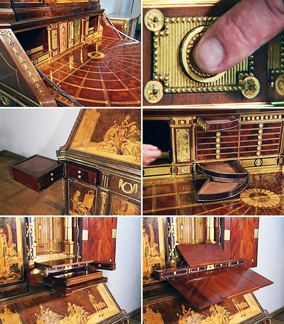 Just a few examples of the many hidden and disguised compartments of an 18th century desk. photo: Shannon Mattern on Twitter