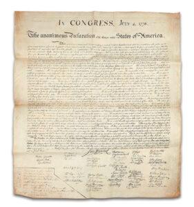 Copy of the Declaration,$4.42 million, Freeman's