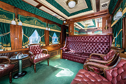 A Famous Pullman: The Erie 400 Interior In 1925, Financier J.P. Morgan Jr. commissioned The Erie 400 for his personal rail car. At 85 feet long, the elegant Erie 400 featured an open platform at the rear, an observation lounge, four large bedroom suites, private baths, a large dining room, a full kitchen, and crew quarters.