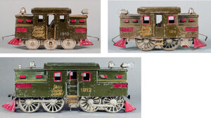 Lionel produced its first three models of the New York Central S-2 locomotive  based on the New York Central S-2 prototype which had gone into service  only four years before. He offered three sizes: the small No. 1910,  the medium No. 1911, and the large No. 1912