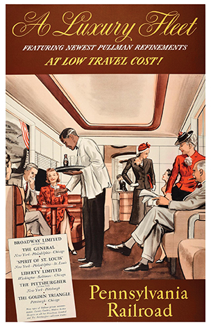 Original vintage Pennsylvania Railroad poster - A luxury fleet featuring newest Pullman refinements at low travel cost! - showing smartly dressed passengers enjoying the inside of a Pullman train carriage with a waiter serving drinks to people seated at a booth table opposite a man smoking a cigar and holding a newspaper next to an elegant lady on the side and two fashionably dressed ladies talking in front of men at a bar at the end of the carriage, the stylized lettering above and below with details of the trains and their service routes. Selling for $1,349.89 at 1stdibs.com
