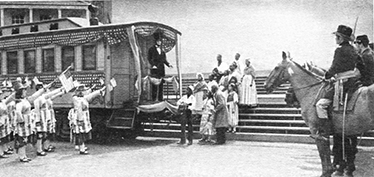 """""""Farewell to A New President,"""" a pageant photo depicting Abraham Lincoln's 1861 departure from New York, en route to Washington, D.C."""