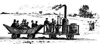 Vintage illustration of the Tom Thumb at work pulling passengers on the rail