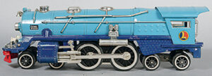 The 1937 No. 400E locomotive was a spectacular sight with two-tone blue paint finish and bright nickel trim. Because of revived demand, Lionel reproduced this locomotive in 1990.