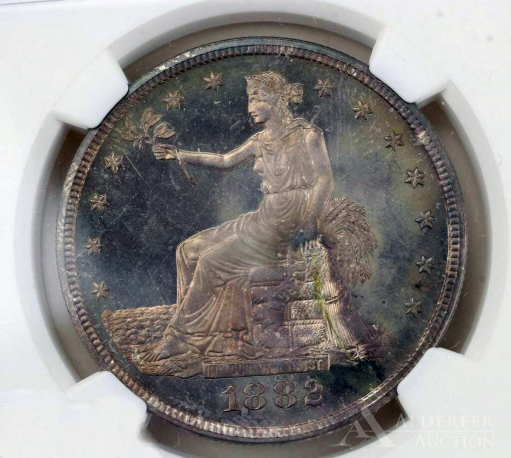 An 1882 Proof 66 trade dollar sold for $16,800 at a Coins and Currency auction held July 28th by Alderfer Auction in Hatfield, PA