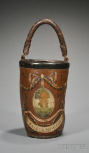 4. Beyond names, dates, and logos, fire buckets could also display contemporary themes or symbolic imagery. This Fenno example, ca. 1812, belonged to David Stoddard Greenough, Jr., a lawyer and Massachusetts Justice of the Peace. Sold by Skinner in 2011, they attribute its illustration of a fiery volcanic eruption to the commemoration of two noteworthy eruptions that happened in 1812, the eruption of Soufriere on St. Vincent Island in the Caribbean, and Awu on the Sangihe Islands in Indonesia. Greenough's bucket sold for $8,500. photo: Skinner Auctioneers
