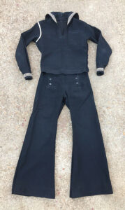"""Cracker Jack"""" WWII Navy Uniform selling on eBay with the sailor's photo and address book for $154"""