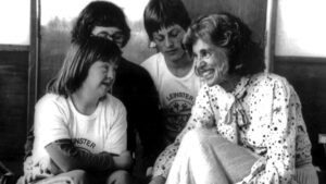 Eunice Kennedy Shriver engaging with athletes in Ireland