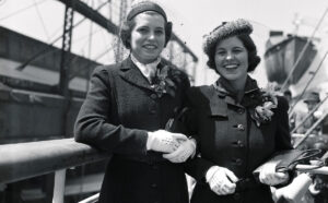 Eunice (left) and Rosemary Kennedy in 1938 on their way to England where their father had been named Ambassador to the Court of St. James. While living there, Rosemary and Kathleen were presented at Court on May 11, 1938, while accompanied by their mother Rose.