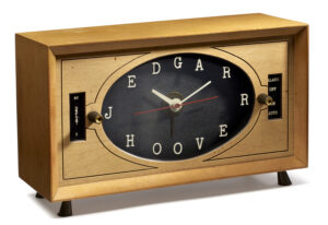This clock is part of the J. Edgar Hoover Collection, a large group of objects donated by the J. Edgar Hoover Foundation which features thousands of items from the personal life of the FBI's founding director.