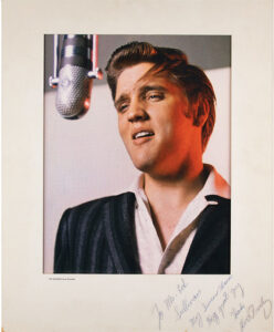 """A color, semi-gloss photograph of Elvis Presley, inscribed to Ed Sullivan, """"To Mr. Ed Sullivan, My sincere thanks to a great guy, Thanks, Elvis Presley,"""" sold for $19,445 in an online auction held June 25-July 14 by RR Auction in Boston, MA"""