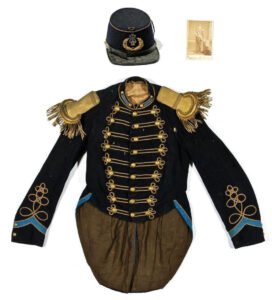 Civil War Era Military Band Leader Jacket with Epaulets, hat, and ID photo