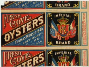 """Thomas Kensett, an Englishman, began canning food in New York in the 1810s. His son and namesake was one of the first to process oysters in Baltimore, beginning in 1849. """"Cove"""" on the label refers to Cove Street, a lane in Baltimore where several oyster houses were located."""
