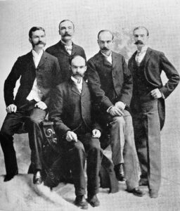 The Ball brothers from left to right: William Charles Ball (1852–1921), Frank Clayton Ball (1857–1943), Lucius Lorenzo Ball (seated) (1850–1932), Edmund Burke Ball (1855–1925), George Alexander Ball (1862–1955)
